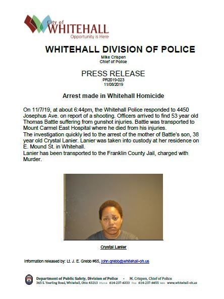 PRESS RELEASE 2019-023 Murder of Thomas Battle and Arrest Photo for Website