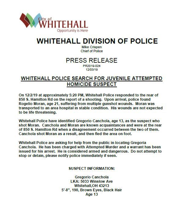 PRESS RELEASE 2019-024 Whitehall Police Search for Juvenile Attempt Homicide Suspect Thumbnail
