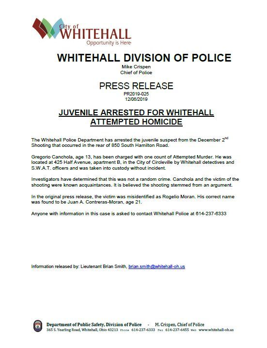 PRESS RELEASE 2019-025- Arrest made in attempted homicide thumbnail